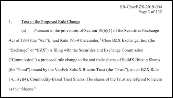 Cboeによるアメリカ証券取引委員会(SEC)への提出書類